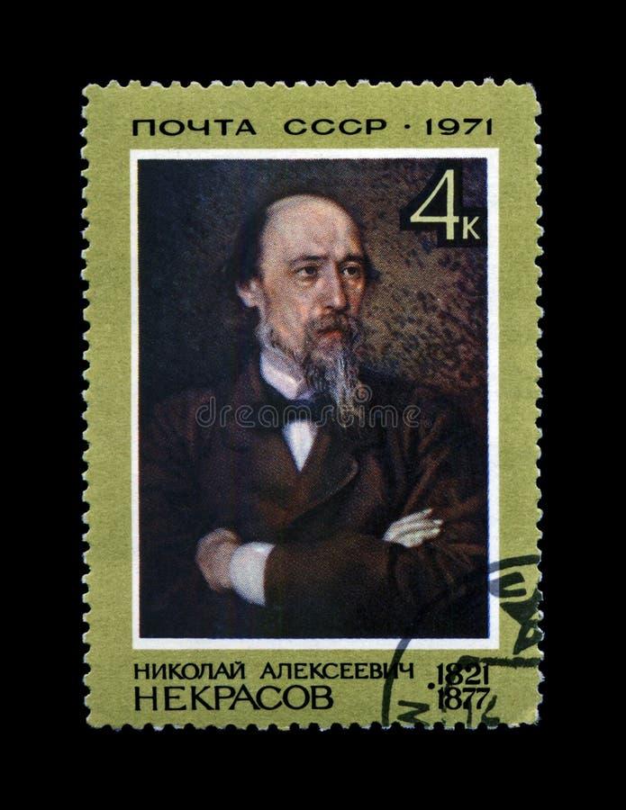 Poète russe célèbre Nikolai Nekrasov, vers 1971, photographie stock