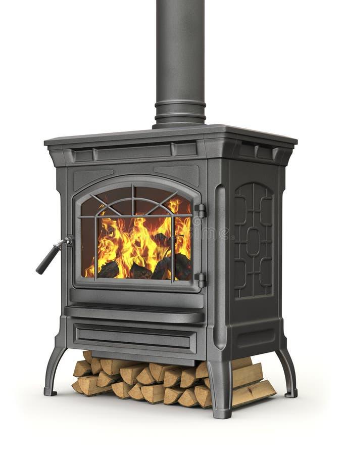 Poêle brûlant en bois illustration stock