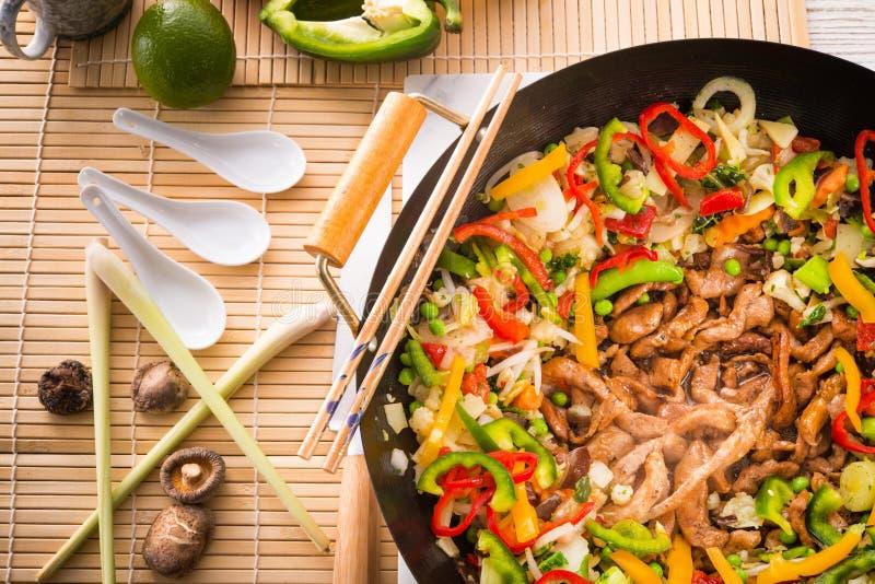 Poêle de wok photographie stock