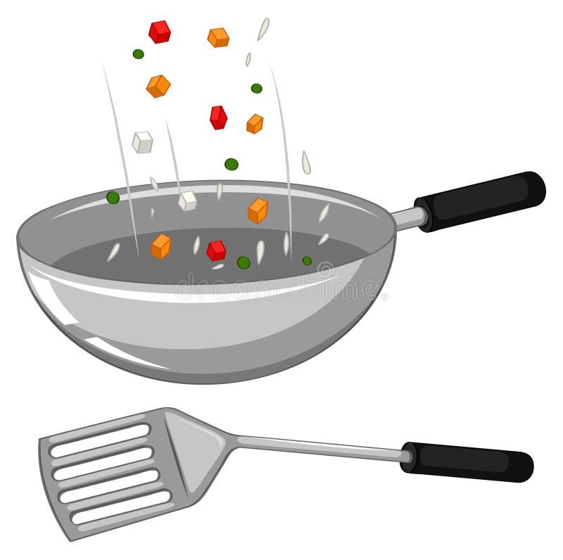Poêle et spatule illustration de vecteur