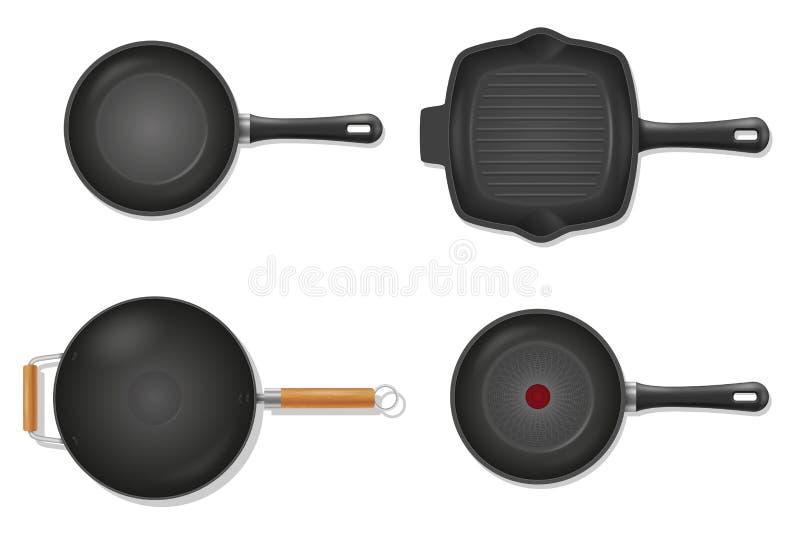Poêle pour la nourriture de friture sur l'illustration courante de vecteur du feu illustration de vecteur