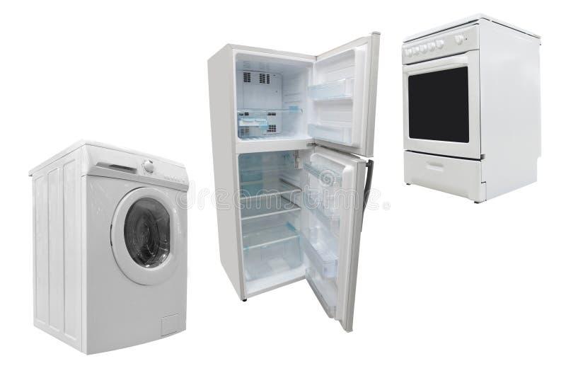 Poêle, rondelle et réfrigérateur électriques photographie stock libre de droits