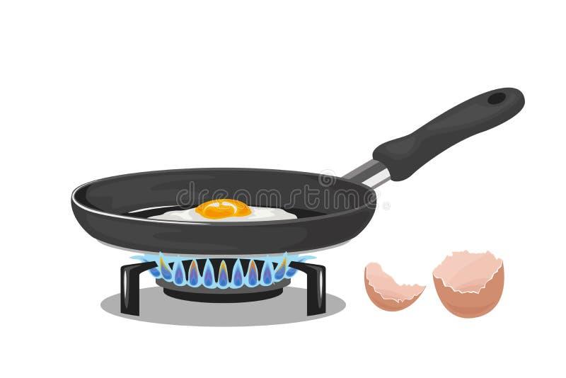 Poêle sur une cuisinière à gaz avec un oeuf au plat et une coquille d'oeuf d'isolement illustration stock