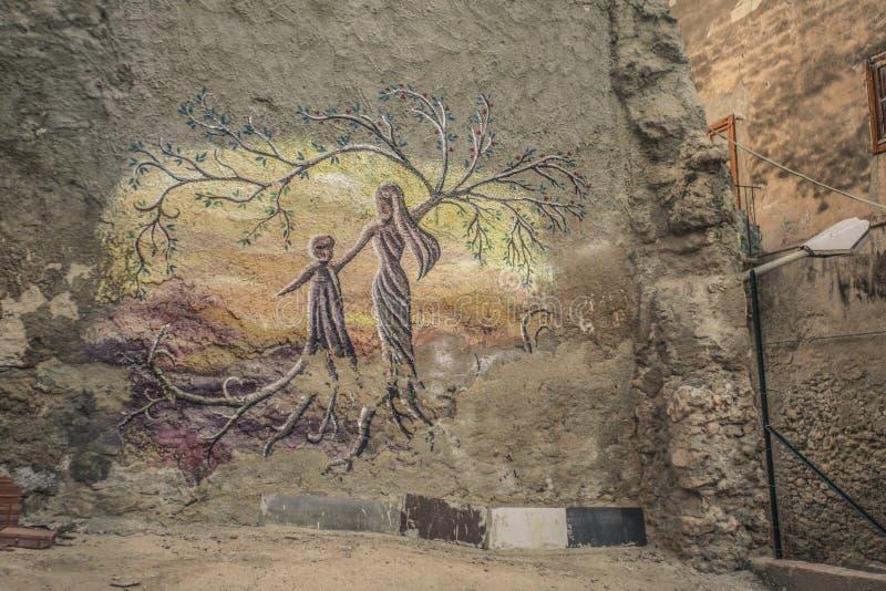Poëtisch muurschilderij in Licata stock foto