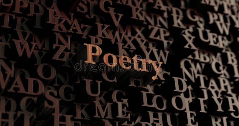 Poëzie - Houten 3D teruggegeven brieven/bericht stock illustratie