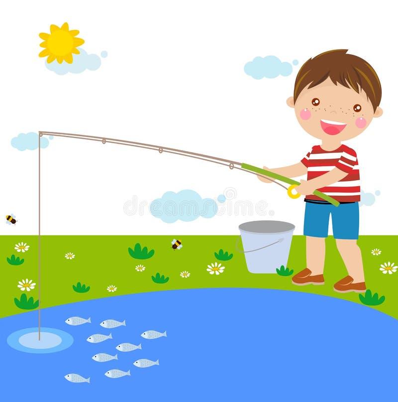Download Połów chłopiec ilustracja wektor. Ilustracja złożonej z szczęśliwy - 57661443