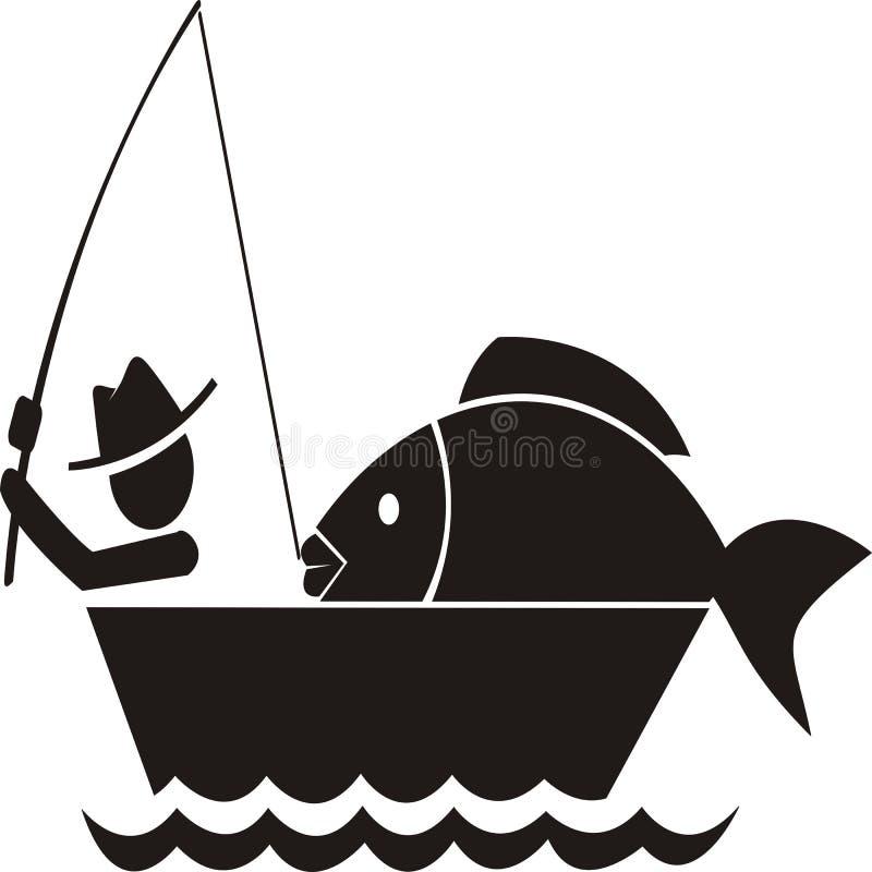 Połów dostaje dużego rybiego ikona wektor ilustracja wektor
