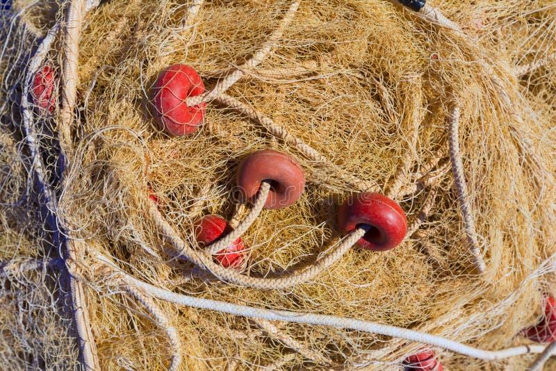 Połów drugubicy sieci sprzętu tekstura w Gandia porcie zdjęcia royalty free
