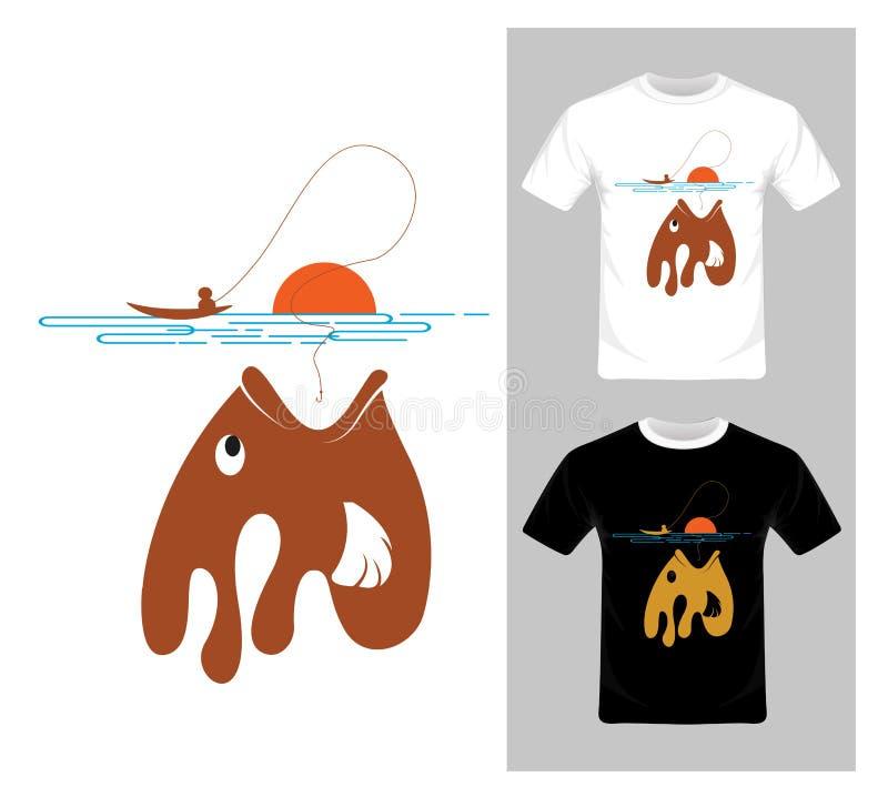 Połów grafiki wektor ryba - koszulka graficzny projekt royalty ilustracja