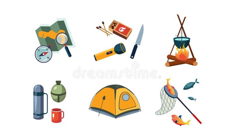 Połów i campingowe ikony ustawiający, mapa, kompas, latarka, namiot, kocioł, pudełko dopasowania, nóż, termos, pudełko, kolba, ku royalty ilustracja