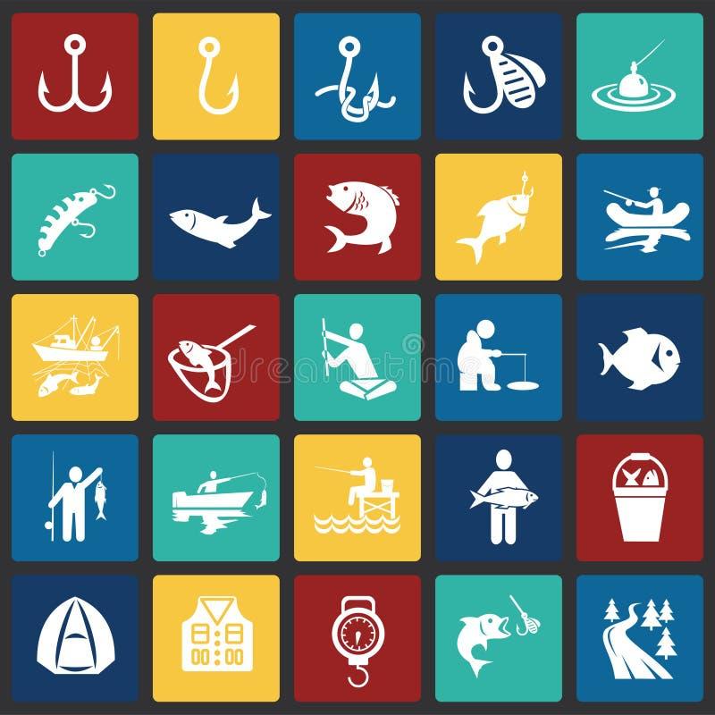 Połów ikona ustawiająca na kolorów kwadratów tle dla grafiki i sieci projekta, Nowożytny prosty wektoru znak kolor tła pojęcia, n ilustracji