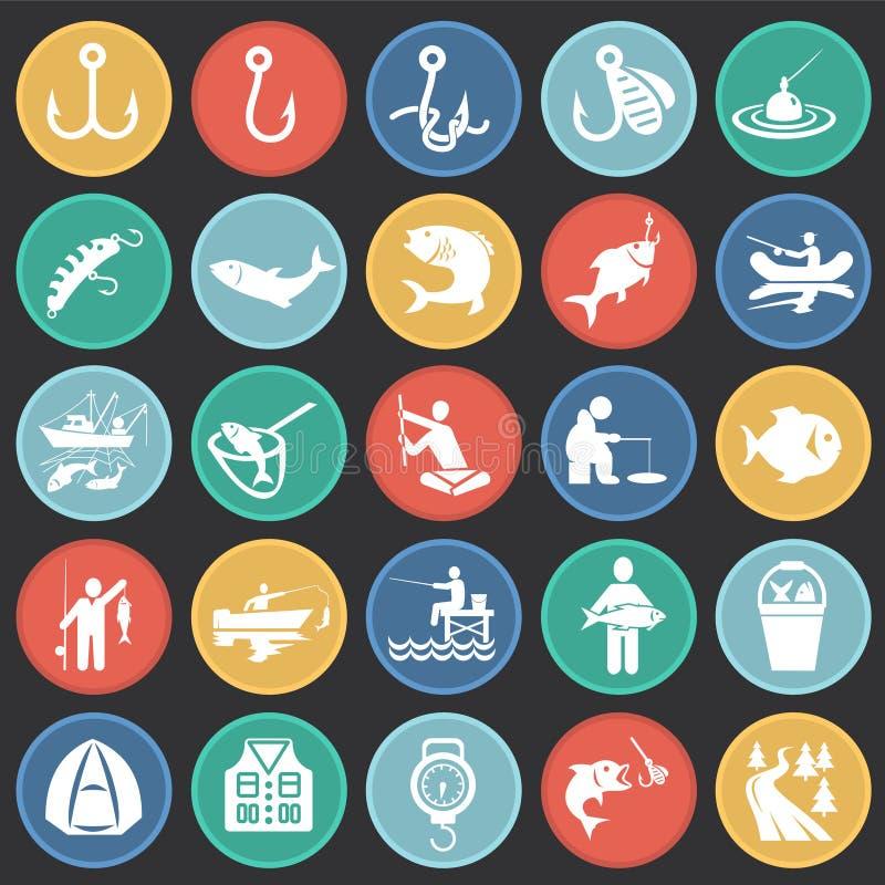 Połów ikona ustawiająca na kolorów okregów czarnym tle dla grafiki i sieci projekta, Nowożytny prosty wektoru znak kolor tła poję ilustracja wektor