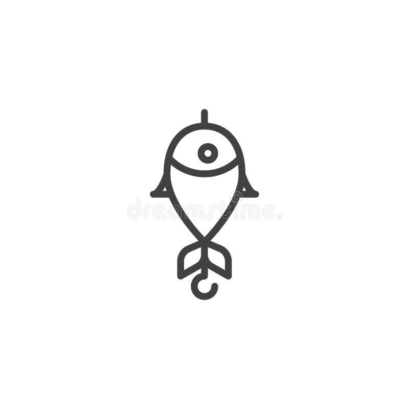 Połów wabije kontur ikonę ilustracji