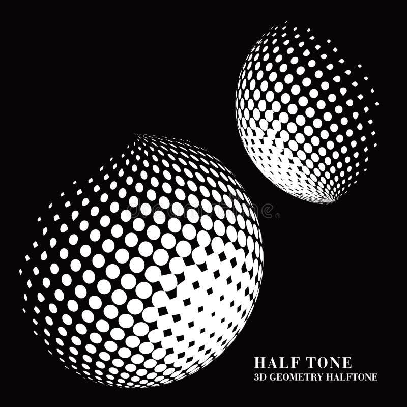 Połówka - brzmienie gradientu 3D czerni geometrii kropki sfery round piłka ilustracja wektor