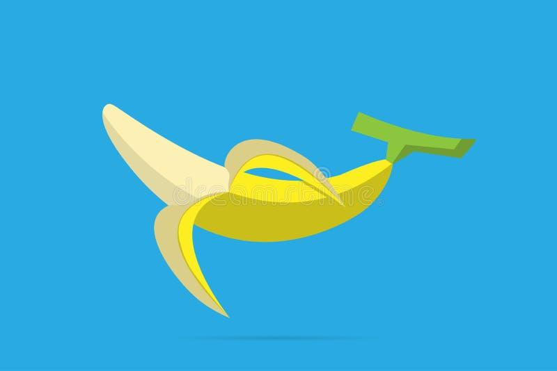 Połówka obrany banan na bławym tle ilustracji