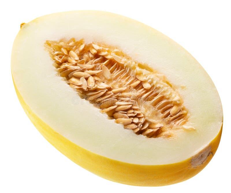 Połówka odizolowywająca na białym tle melon obrazy royalty free