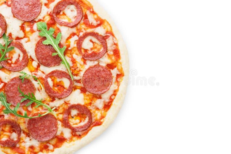 Połówka pizza z sercem kształtował pepperoni dla walentynka dnia obrazy royalty free