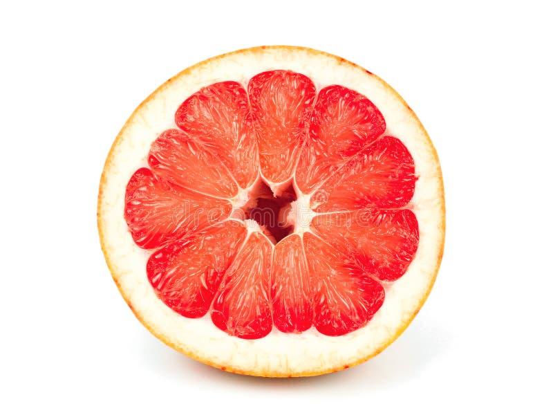 Połówki cięcie czerwona pomelo cytrusa owoc odizolowywająca na bielu zdjęcie royalty free