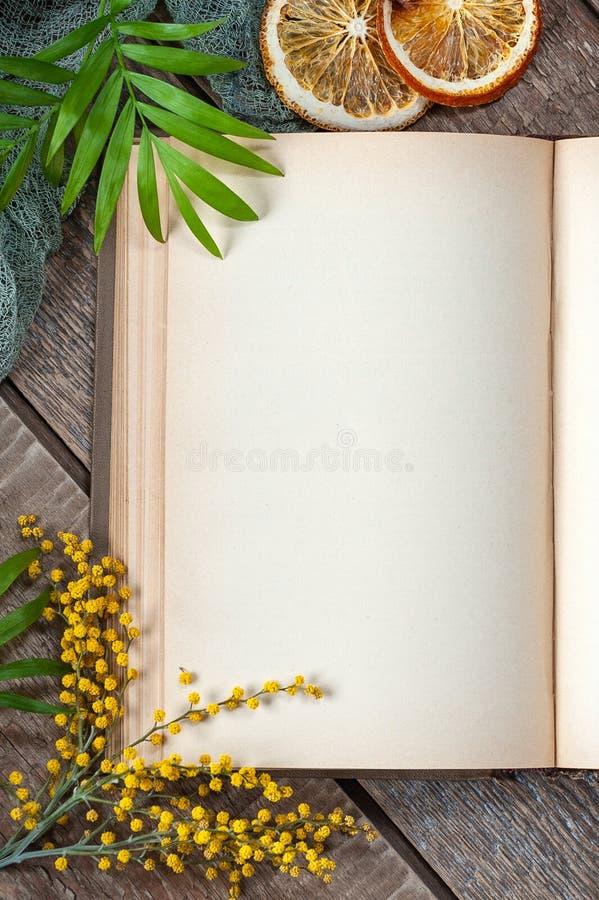 Połówki otwarta książka z pustymi stronami na starym drewnianym stole w wiosna projekcie Fotografia dla twój projekta zdjęcia stock