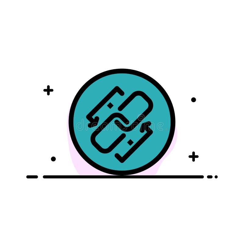 Połączenie, łańcuch, Url, związek, Kulisowa Biznesowa linia Wypełniający mieszkanie ikony sztandaru Wektorowy szablon royalty ilustracja