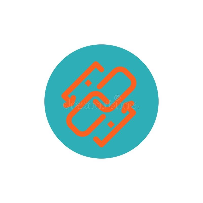 Połączenie, łańcuch, Url, związek, Kulisowa Płaska kolor ikona Wektorowy ikona sztandaru szablon royalty ilustracja