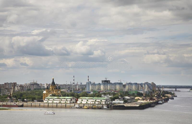 Połączenie Oka i Volga rzeki w Nizhny Novgorod Rosja fotografia stock