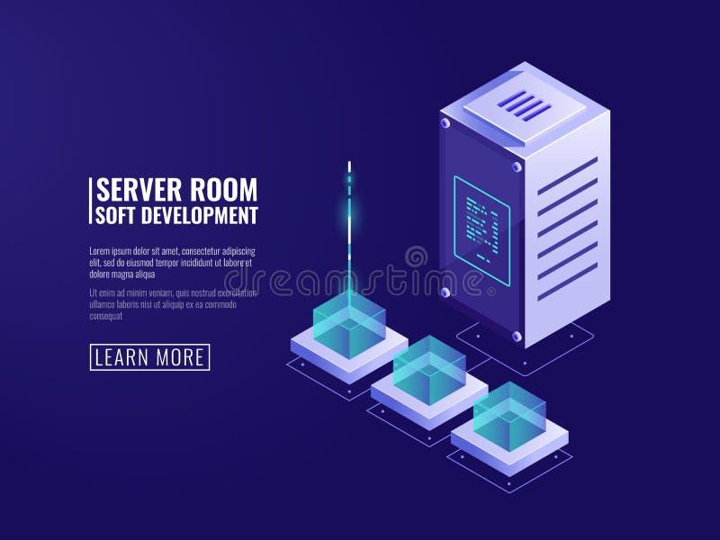 Połączenie z internetem, dane utajnianie, ikona, bezpiecznie przechowywania danych, dane przepływu, kartoteki upload, serweru i b royalty ilustracja