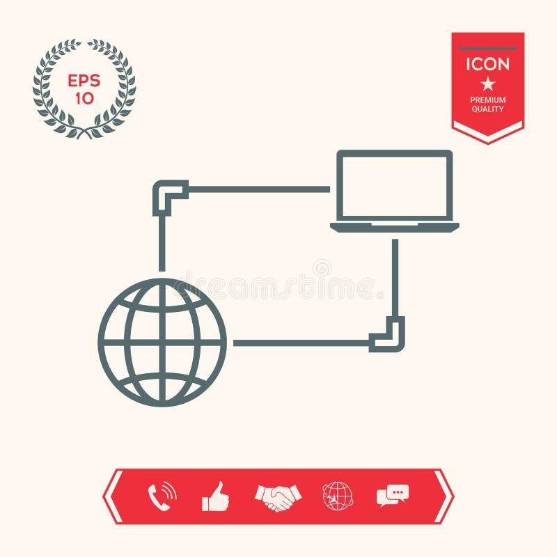 Połączenie z internetem, dane wymiana, przeniesienia pojęcia ikona ilustracja wektor