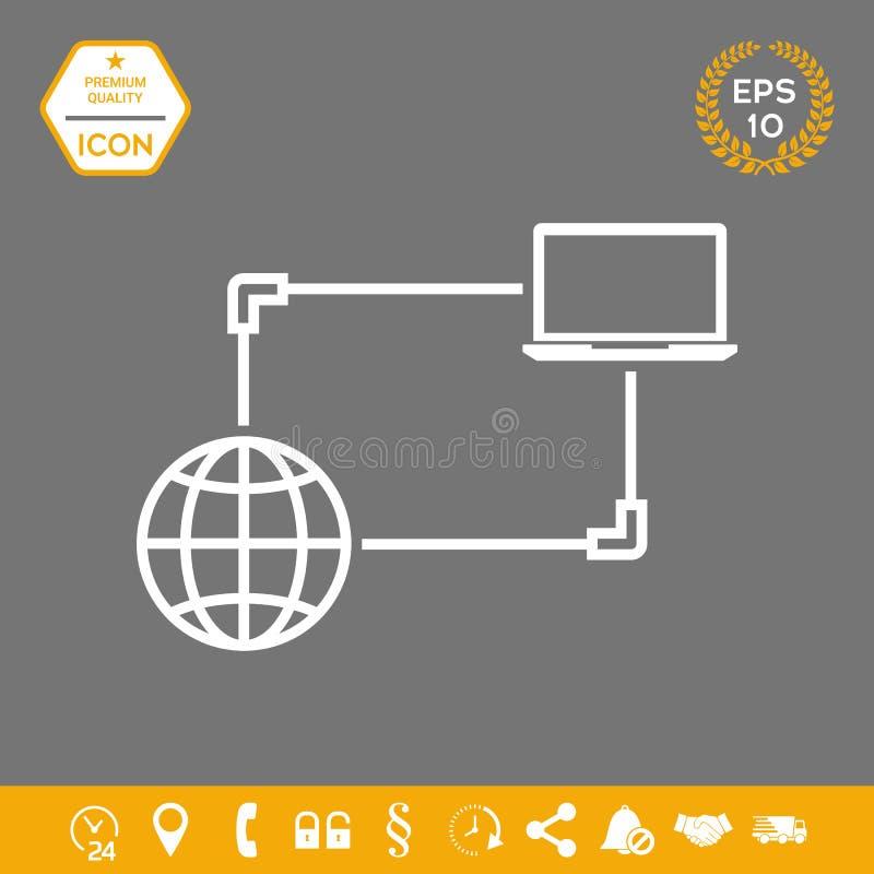 Połączenie z internetem, dane wymiana, przeniesienia pojęcia ikona ilustracji