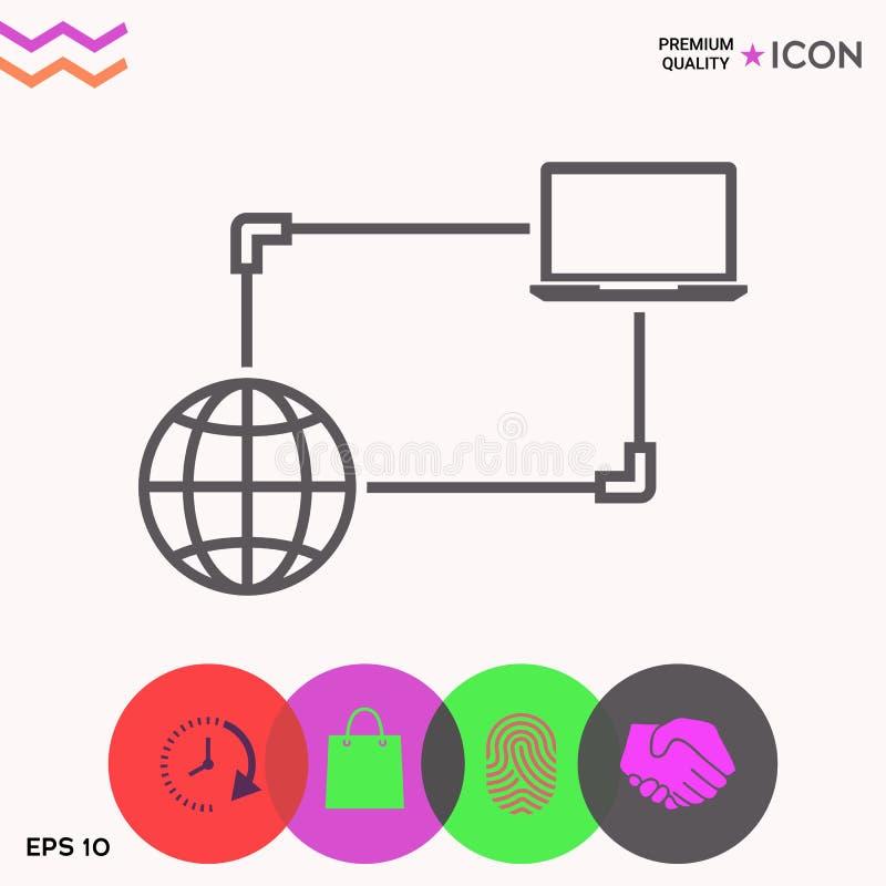 Połączenie z internetem, dane wymiana, przeniesienia pojęcia ikona royalty ilustracja