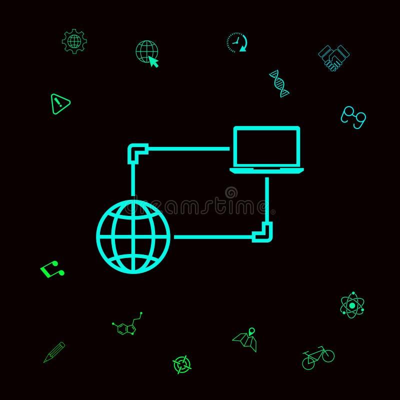 Połączenie z internetem, dane wymiana, przeniesienia pojęcia ikona Graficzni elementy dla twój designt ilustracja wektor