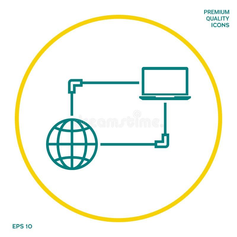 Połączenie z internetem, dane wymiana, przeniesienia pojęcia ikona Graficzni elementy dla twój projekta ilustracji