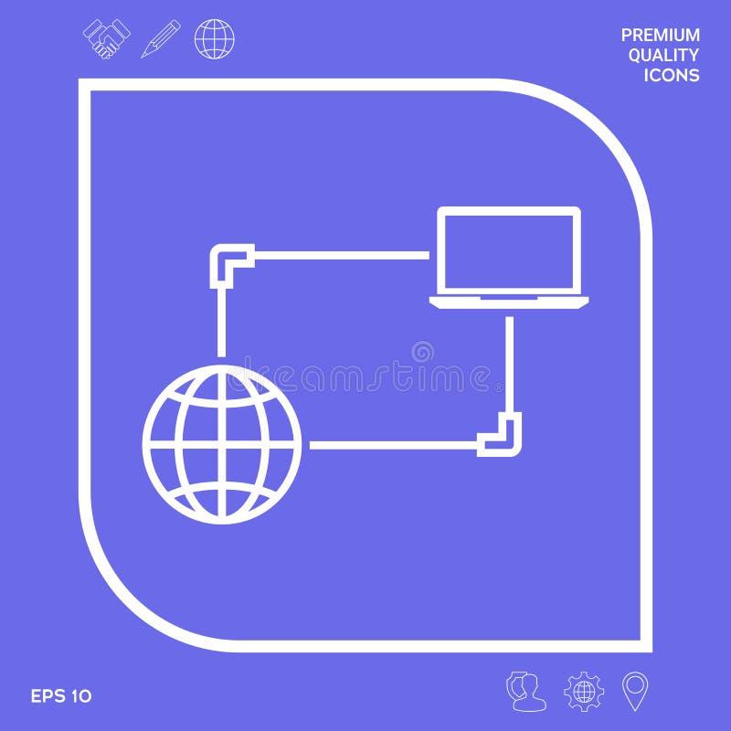 Połączenie z internetem, dane wymiana, przeniesienia pojęcia ikona Graficzni elementy dla twój projekta royalty ilustracja