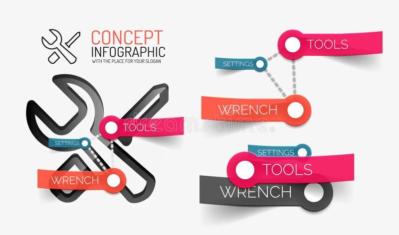 Położeń narzędzi infographics z słowami kluczowymi ilustracja wektor