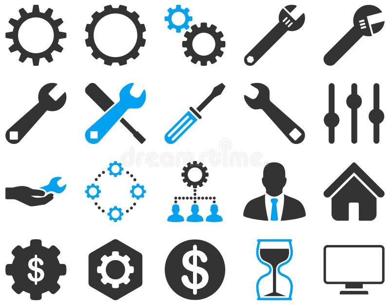 Położenia i narzędzie ikony royalty ilustracja