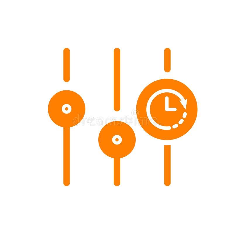 Położenie ikona, multimedialna ikona z zegaru znakiem Położenia ikony i odliczanie, ostateczny termin, rozkład, planistyczny symb royalty ilustracja