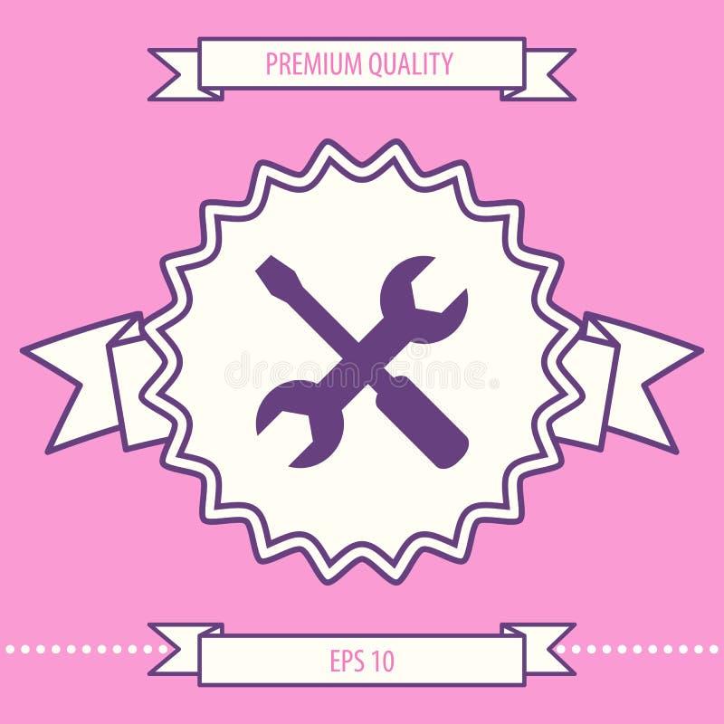 Położenie ikona - wyrwanie i śrubokręt Graficzni elementy dla twój projekta ilustracji