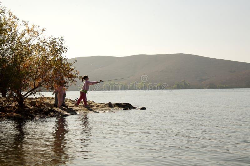 połowowej rzuceni dziewczyny drąg young fotografia stock