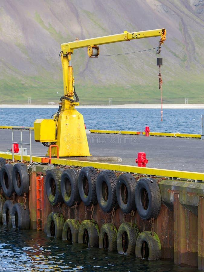 Połowu żuraw w małego nadmorski Iceland grodzkim schronieniu obrazy stock