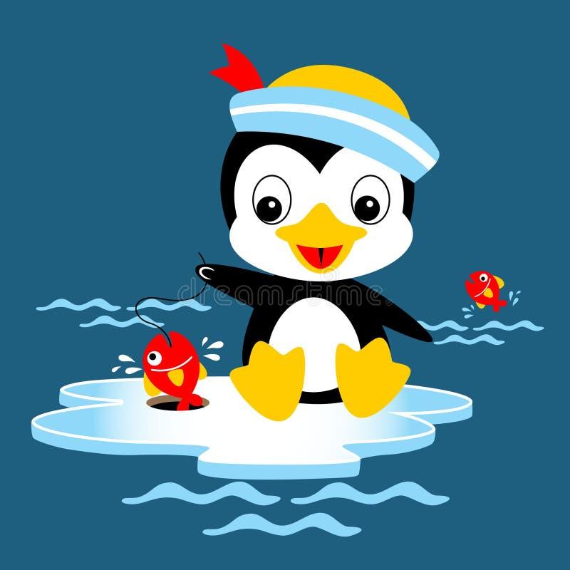 Połowu czas z pingwin kreskówką ilustracja wektor