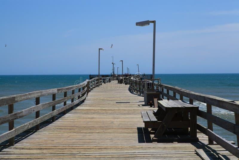 Połowu Mola Boardwalk Zewnętrzni Banki Pólnocna Karolina fotografia royalty free
