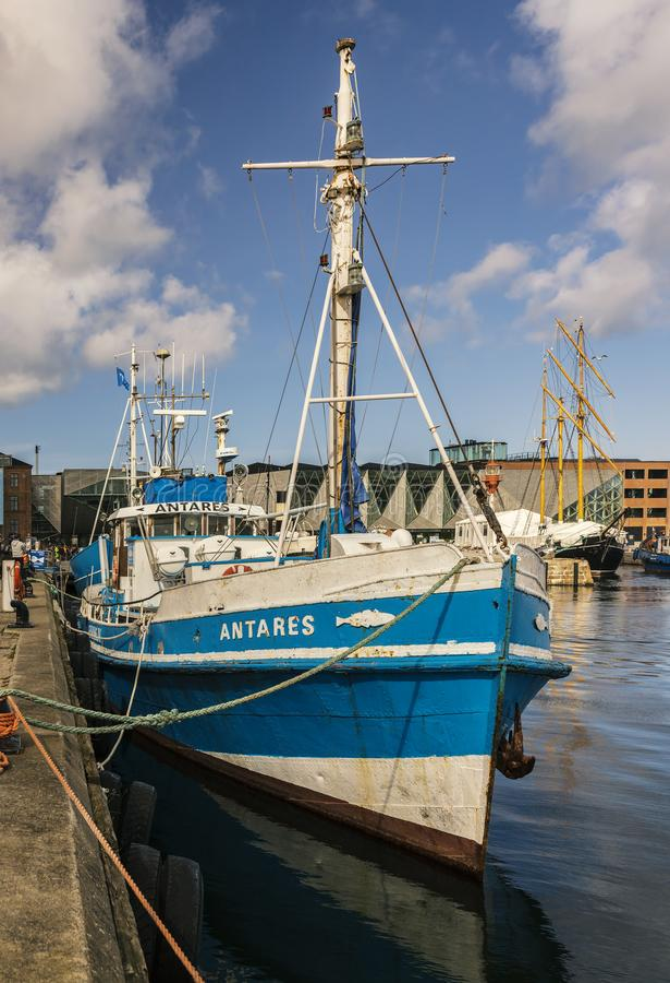 Połowu naczynie Helsingor Dani zdjęcie stock