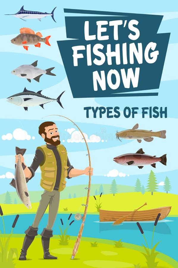 Połowu plakat z rybaka mienia prąciem i szczupakiem royalty ilustracja