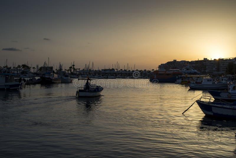 Połowu port Santa Pole, Alicante, Hiszpania zdjęcie stock