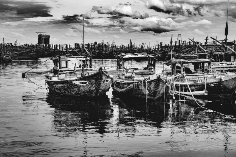 Połowu port w Danang w Wietnam zdjęcie stock