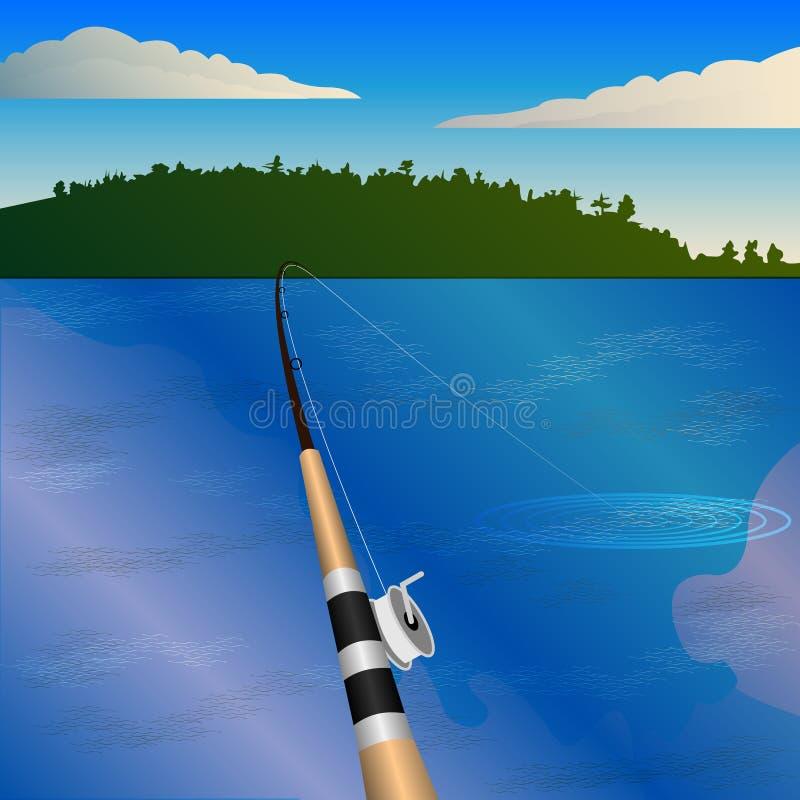 Połowu prącie z rolką, kąsek Połów, osoba widok, staw, las na horyzoncie ilustracji