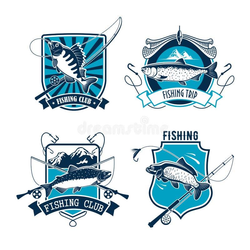 Połowu sporta klubu emblemat z ryba i prąciem ilustracja wektor