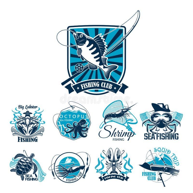 Połowu sporta klubu odznaka ustawiająca z ryba i łodzią ilustracji