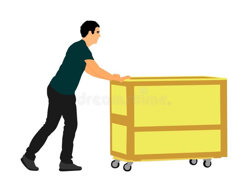Połowy dekady dosunięcia wheelbarrow i niesie dużego pudełkowatego wektor ilustracji