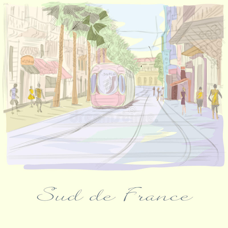 Południe Francja uliczna ręka rysująca ilustracja ilustracji